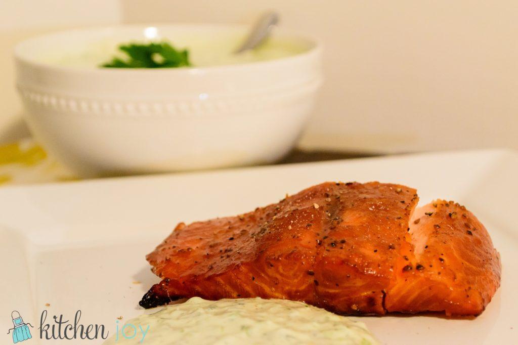 smoked salmon with fresh dill sauce
