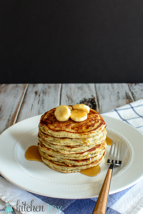 Banana Poppy-seed Pancakes with Caramel-Banana Syrup