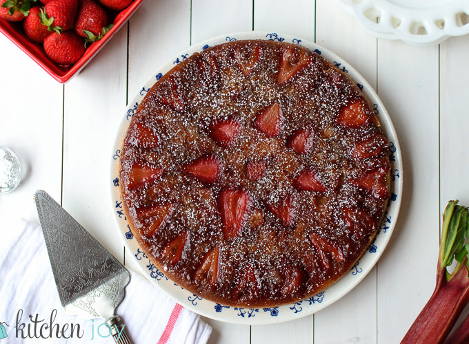 Strawberry Rhubarb Upside Down Cake - Kitchen Joy
