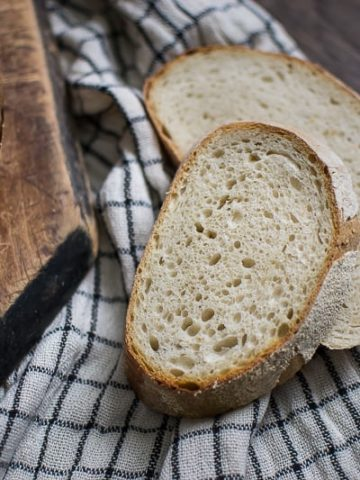 sourdough bread recipe, batard loaf, basic sourdough bread, homemade sourdough, sourdough starter, how to make sourdough,