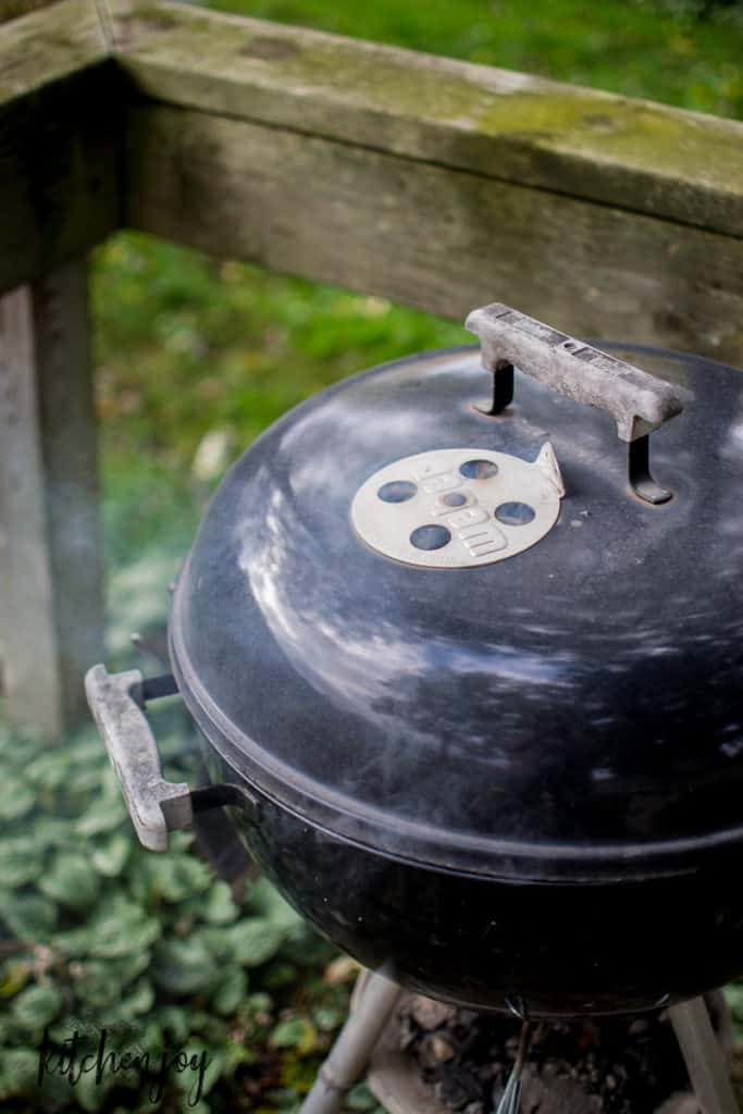 smoky weber charcoal kettle grill