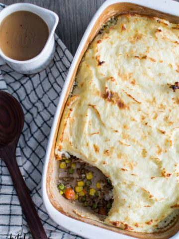 Shepherd's Pie in a casseroled dish served with gravy
