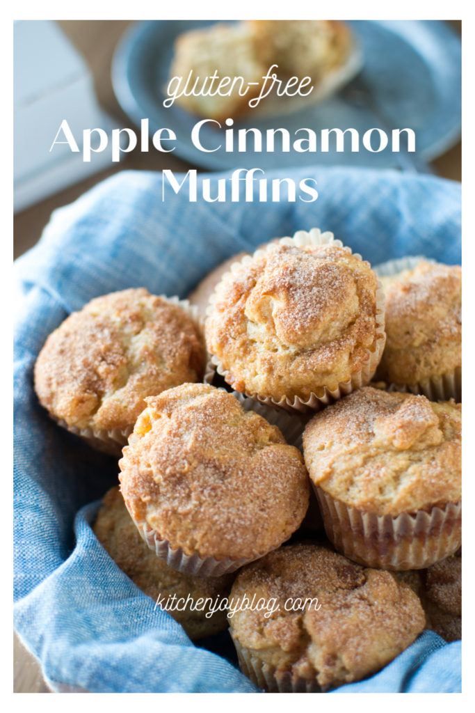 Gluten free apple cinnamon muffins in a basket