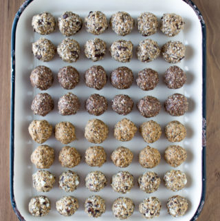 no bake energy bites, cookie dough balls, four flavors,