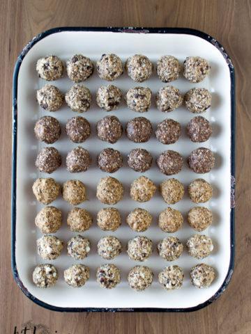no bake energy bites, cookie dough balls, four flavors,