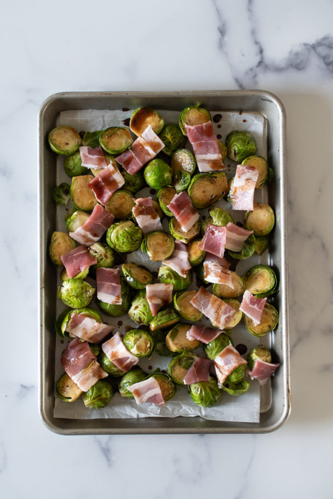 brussels sprouts and bacon on a sheet pan